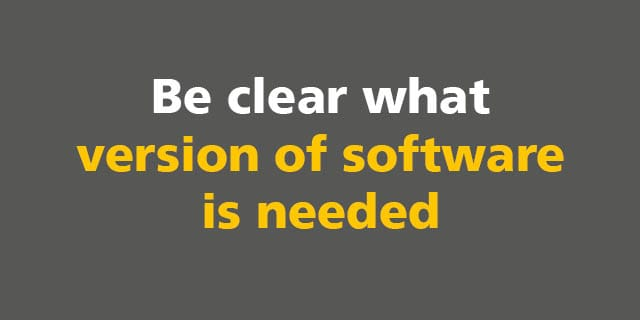 BIM: Be clear what version of software is needed