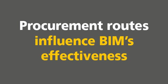 Procurement routes influence BIM's effectiveness